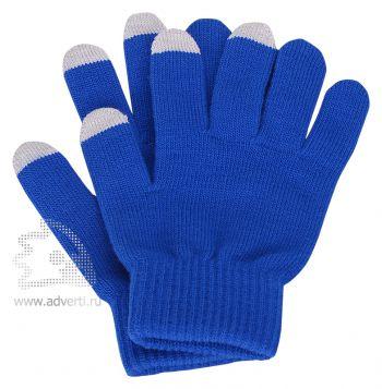 Перчатки для сенсорного экрана «Сет», синие с серым