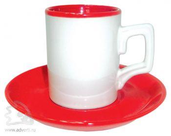 Набор из двух чашек с блюдцами, красный