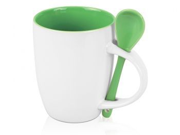 Кружка с ложкой «Авеленго», зелёная