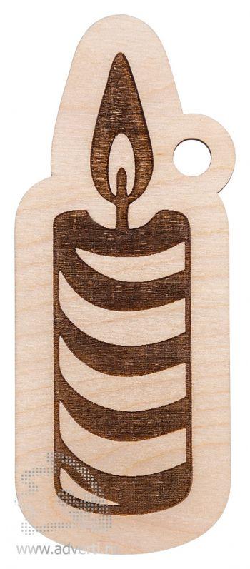 Елочная игрушка «Свеча», деревянная