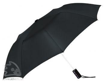 Зонт складной, полуавтомат, 2 сложения, черный