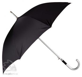 Зонт-трость «Дождь» с алюминиевой ручкой, полуавтомат, черный