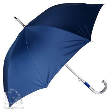 Зонт-трость «Дождь» с алюминиевой ручкой, полуавтомат, синий