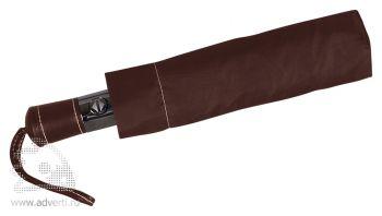 Зонт складной «Спенсер», автомат, 3 сложения, коричневый, сложенный