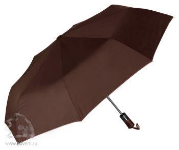 Зонт складной «Спенсер», автомат, 3 сложения, коричневый
