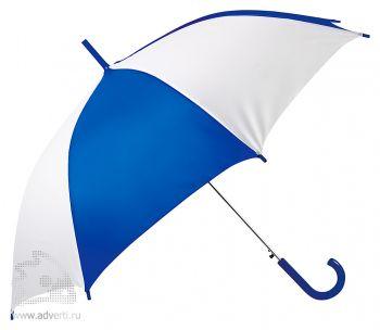 Зонт-трость «Тилос», полуавтомат, белый с синим