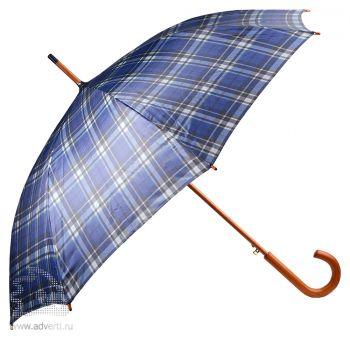 Зонт-трость «Коннор», полуавтомат, синий