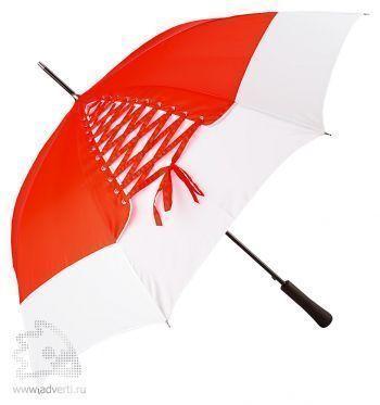 Зонт-трость «Wild paint» со шнуровкой, полуавтомат, красный