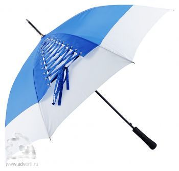 Зонт-трость «Wild paint» со шнуровкой, полуавтомат, синий