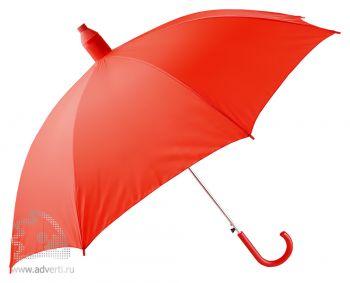 Зонт-трость в телескопическом футляре, полуавтомат, красный