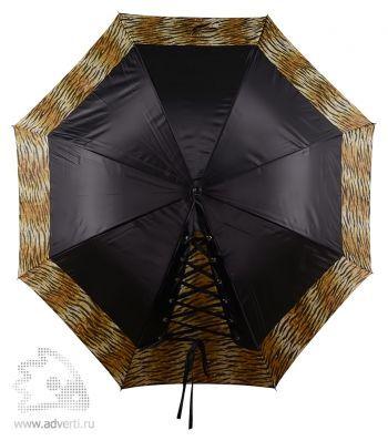 Зонт-трость «Канкан» со шнуровкой, полуавтомат, оранжевый