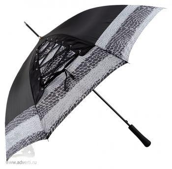 Зонт-трость «Канкан» со шнуровкой, полуавтомат, серый