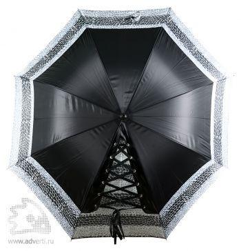 Зонт-трость «Канкан» со шнуровкой, полуавтомат, дизайн купола