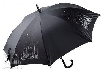 Зонт-трость «8 чудес света» со стразами, полуавтомат