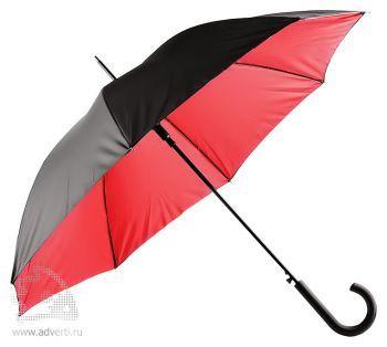 Зонт-трость двухслойный, полуавтомат, красный