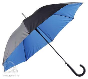 Зонт-трость двухслойный, полуавтомат, синий