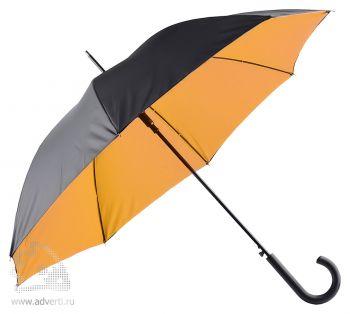 Зонт-трость двухслойный, полуавтомат, оранжевый