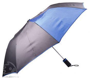 Зонт складной «Логан», автомат, черный с синим