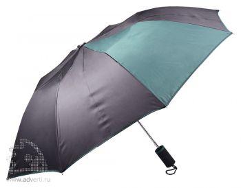 Зонт складной «Логан», автомат, черный с зеленым