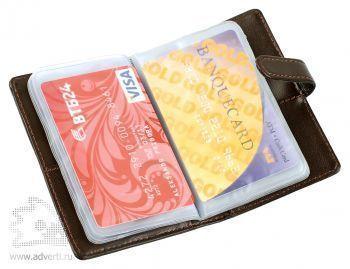 Футляр для пластиковых карт «Dione», коричневый, внутренний дизайн