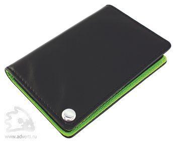 Футляр для пластиковых карт, визиток, карт памяти и SIM-карт, зеленый