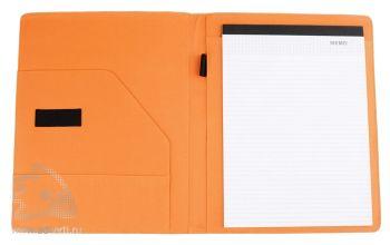 Папка для конференций А4 блоком для записи и карманом для бумаг, оранжевая (внутренний дизайн)