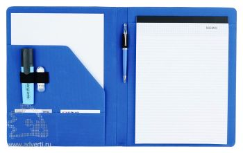 Папка для конференций А4 блоком для записи и карманом для бумаг, синяя (внутренний дизайн)