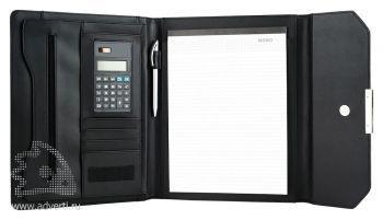 Офисная папка на магнитном замке с блокнотом и калькулятором, внутренний дизайн