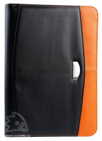 Офисная папка на молнии с блоком для записей и калькулятором, оранжевая