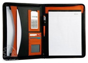 Офисная папка на молнии с блоком для записей и калькулятором, оранжевая (внутренний дизайн)