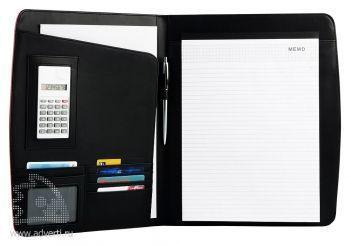 Офисная папка А4 с цветными вставками с блокнотом и калькулятором, внутренний дизайн