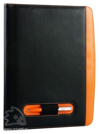 Офисная папка А4 с цветными вставками с блокнотом и калькулятором, оранжевая