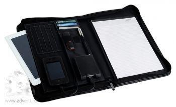 Конференц-портфель для документов с отделением для нетбука и блокнотом, внутренний дизайн