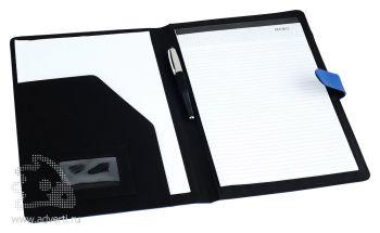 Папка для документов с блокнотом c цветными вставками и застежкой, внутренний дизайн