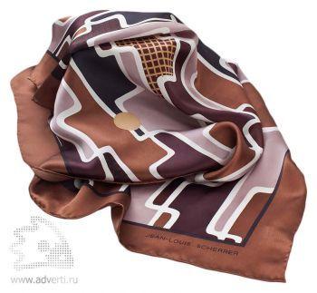 Платок шелковый Geometrique, Jean-Louis Scherrer коричневый