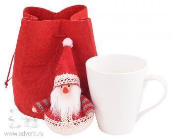 Набор: мягкая игрушка «Дед Мороз», кружка на 260 мл в подарочной упаковке, красный