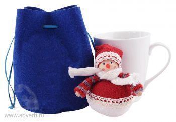Набор: мягкая игрушка «Снеговик», кружка на 260 мл в подарочной упаковке, синий