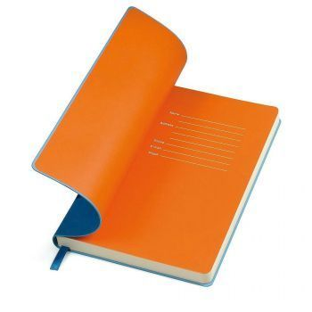 Бизнес-блокнот «Funky», синий, форзац-оранжевый