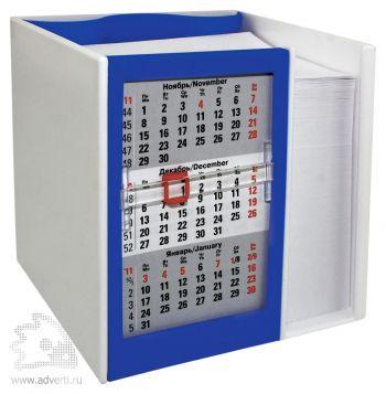 Настольный кубарик с календарем на 2 года, синий