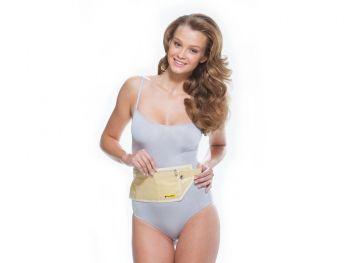 Сумка-кошелек на пояс c RFID защитой, бежевая, на моделе