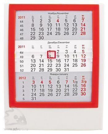 Настольный календарь «Акцент» на 2 года, красный с белым