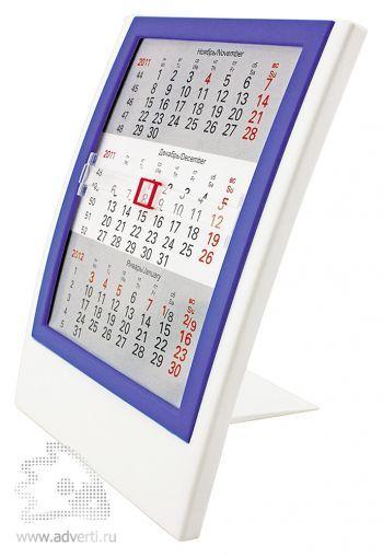 Настольный календарь «Акцент» на 2 года, синий с белым