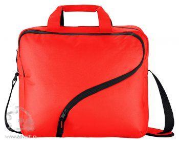 Сумка для ноутбука с фигурной молнией, красная
