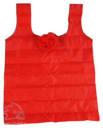 Складная сумка для шопинга в чехле в виде цветка розы, красная