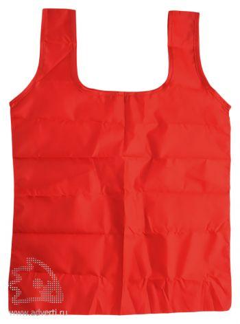 Складная промо-сумка в чехле с карабином, красная
