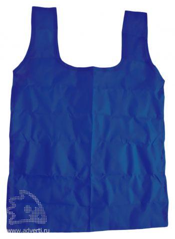 Складная промо-сумка в чехле с карабином, синяя