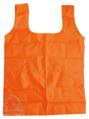 Складная промо-сумка в чехле с карабином, оранжевая