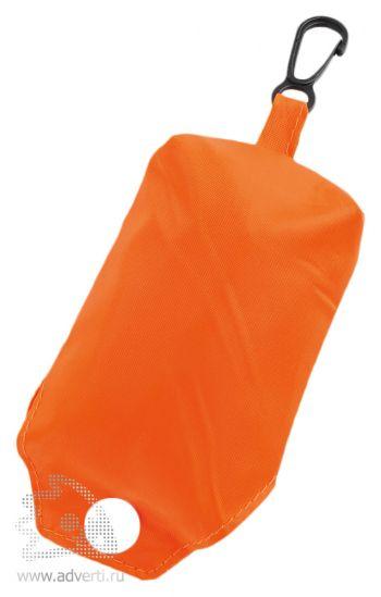Складная промо-сумка в чехле с карабином, сложенная