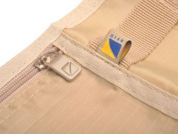 Сумка-кошелек на пояс c RFID защитой, бежевая, близко