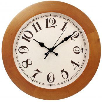 Часы круглые деревянные 300 мм, светло-коричневые